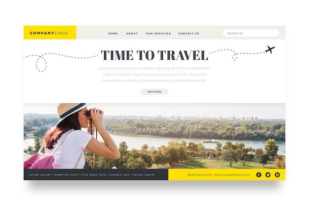 Página de inicio de viaje con foto