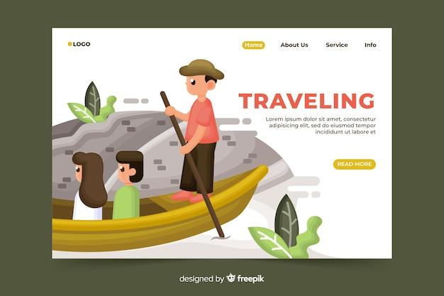 Página de inicio de viaje con ilustración