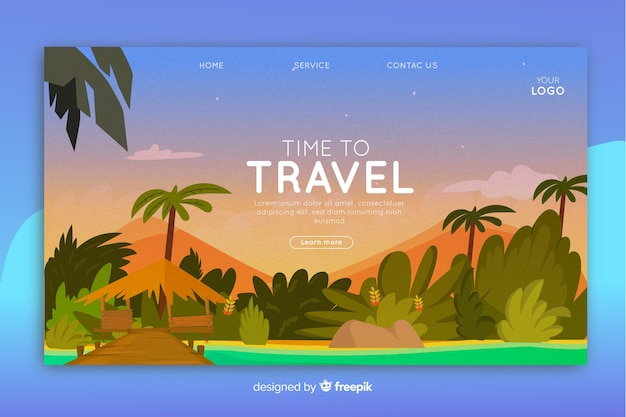 Página de inicio de viaje ilustrada