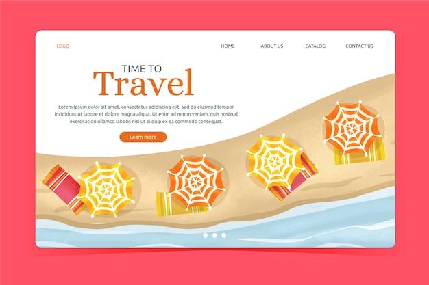Página de inicio de viaje de plantilla de diseño plano