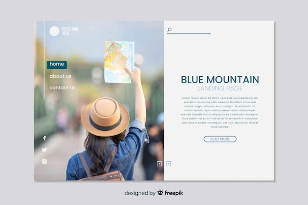 Página de inicio de viajes con foto de marketing en línea
