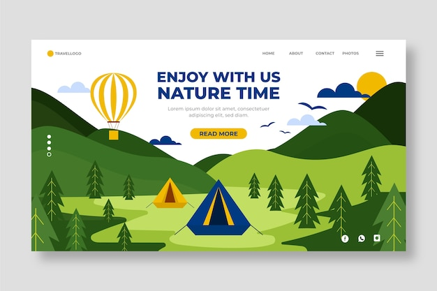 Página de inicio de viajes con ilustración de naturaleza