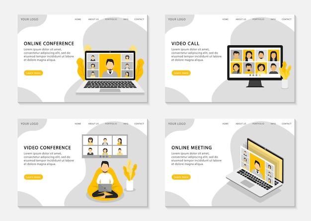 Página de inicio de videoconferencia. videollamada, videoconferencia y reunión online. trabajar desde casa. conjunto de páginas web.