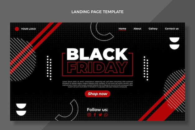 Página de inicio de viernes negro de diseño plano