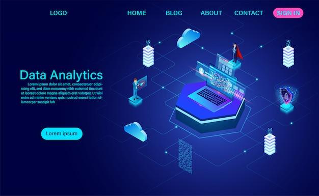 Página de inicio de visualización de red de datos grandes, análisis de datos avanzados, ilustración vectorial isométrica 3d.