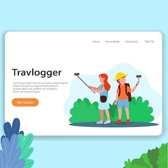 Página de inicio de vlogger de viajes ilustración de diseño de interfaz de usuario de homesite