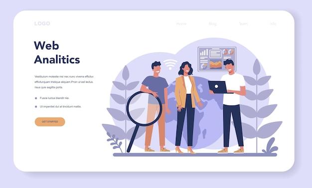 Página de inicio web del concepto de análisis de sitios web. mejora de la página web para la promoción empresarial como parte de la estrategia de marketing. análisis de sitios web para obtener datos para seo. ilustración plana aislada