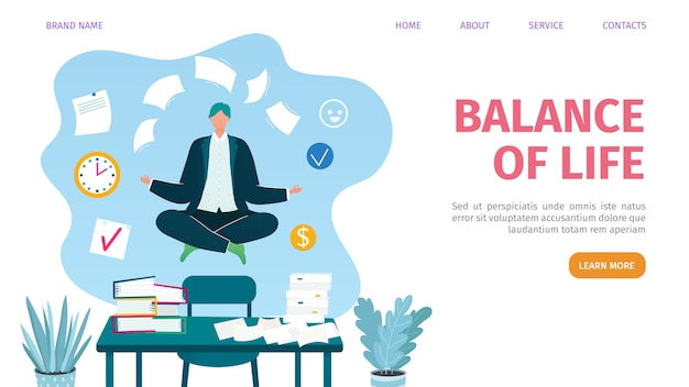 Página de inicio web de conciliación laboral y personal,. equilibrio de empresario con documentos en la oficina, estilo de vida relajado. plantilla de página web de gestión equilibrada del trabajo. multitarea.