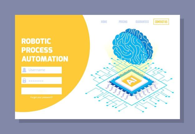 Página de inicio web isométrica de automatización de procesos robóticos