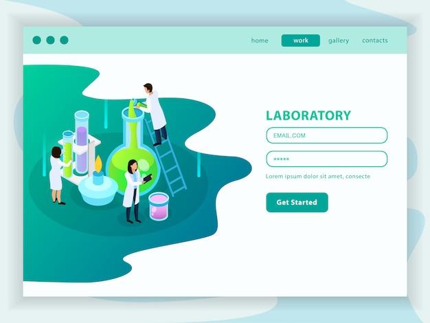 Página de inicio de web isométrica de desarrollo de vacunas con cuenta de usuario de menú e ícono de laboratorio de química