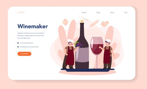 Página de inicio de la web wine maker. hombre vestido con su delantal con una botella de vino tinto y un vaso lleno de bebida alcohólica. vino de uva en un barril de madera, almacenamiento de vino. ilustración de vector aislado