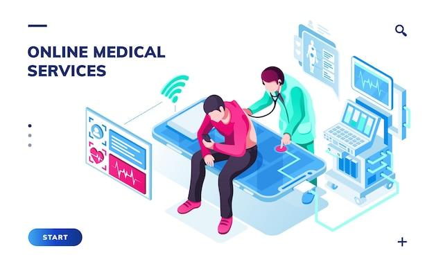 Página isométrica para servicios médicos o sanitarios en línea. doctor haciendo diagnóstico de salud y paciente.