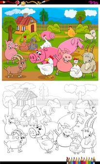 Página de libro de color de grupo de personajes de animales de granja