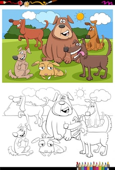Página de libro de color de grupo de personajes animales de perros