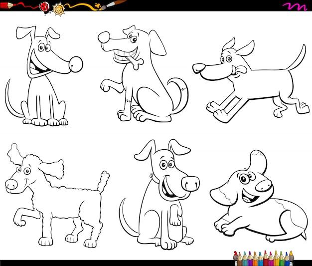 Página de libro de color de perros y cachorros de dibujos animados