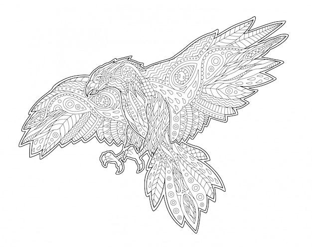 Página de libro para colorear adulto con halcón decorativo