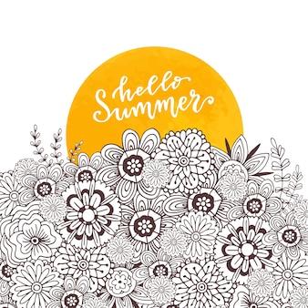 Página de libro de colorear para adultos. arte zentangle para el diseño. hola verano letras dibujadas a mano