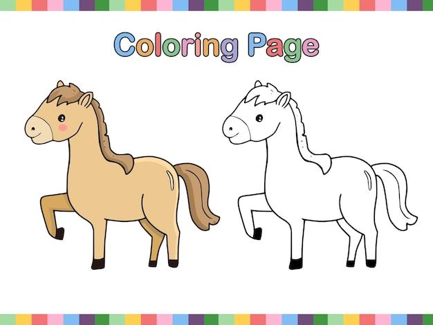 Página de libro para colorear de dibujos animados de contorno de caballo