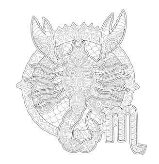 Página de libro para colorear con escorpión y signo zodiacal
