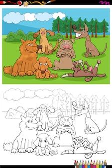 Página de libro para colorear grupo de perros y cachorros de dibujos animados