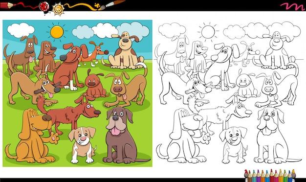 Página de libro para colorear de grupo de personajes de perros juguetones