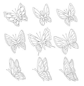 Página de libro para colorear de mariposas aisladas en blanco