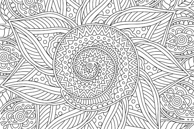 Página de libro para colorear con patrón lineal con espiral