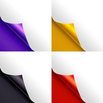 Página de papel en blanco blanco con un juego de esquinas de color rizado