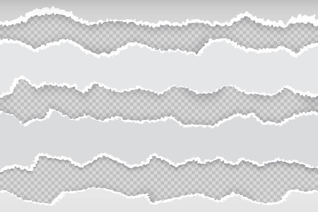 Página de papel rasgada. tiras rasgadas horizontales de periódico, borde rasgado realista de cartón blanco transparente. banner borde áspero ilustración gris