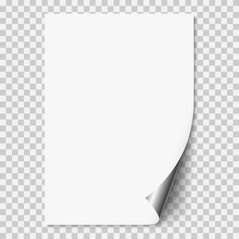 Página de papel realista blanco