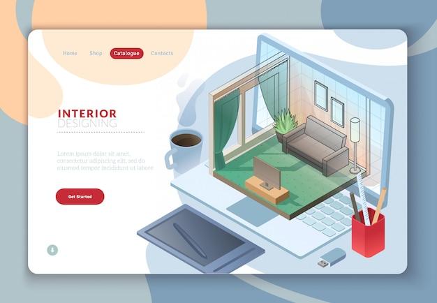 Página de plantilla web de aterrizaje con dibujo isométrico de la habitación interior residencial que sale del monitor de la computadora portátil con la mezcla de sombra y material de oficina en el lugar de trabajo.