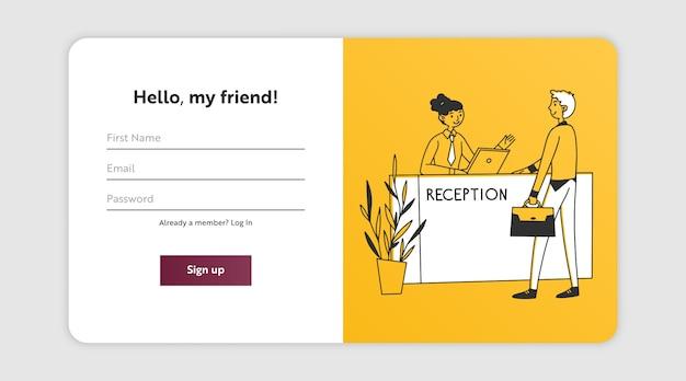 Página de registro con recepcionista de consultoría de huéspedes