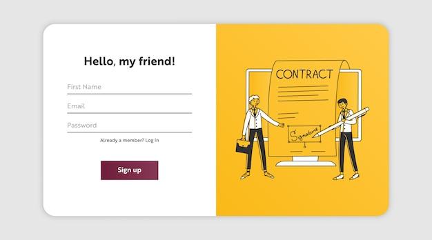 Página de registro con socios comerciales que firman contrato