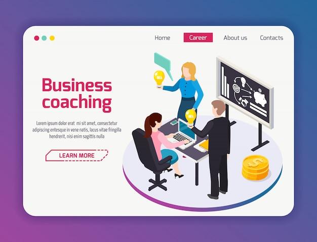Página del sitio web de coaching empresarial