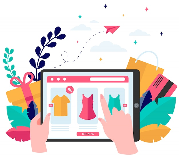 Página de la tienda en línea en tableta