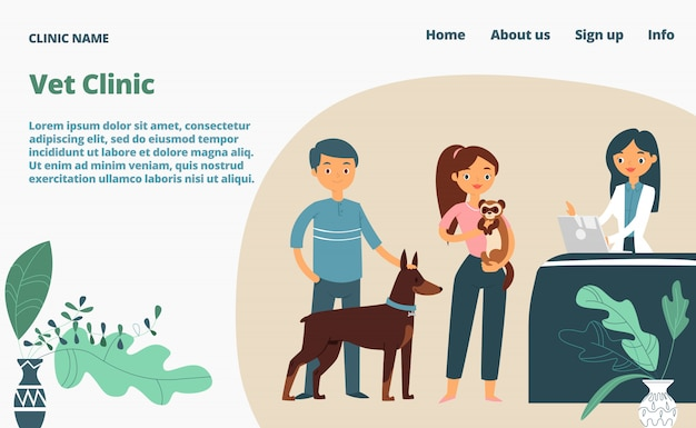 Página web de aterrizaje de la clínica veterinaria, ilustración de dibujos animados de plantilla de sitio web de concepto banner. página del sitio web de la empresa veterinaria médica.