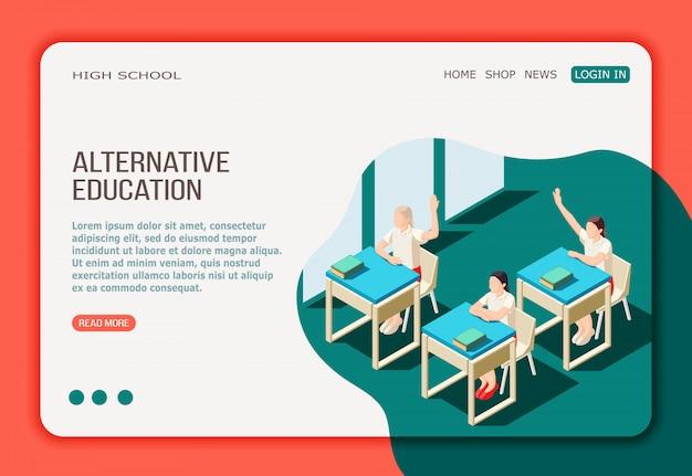 Página web de aterrizaje isométrico de educación alternativa con menú de botones y chicas en clase de secundaria