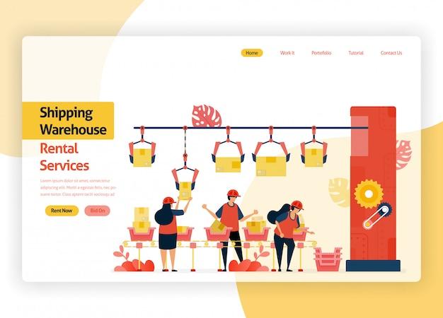 Página web de bienvenida para el almacenamiento de empresas de servicios de alquiler, tránsito de entrega, puertos, carga de aviones y transporte público almacén con máquinas de embalaje de cajas.
