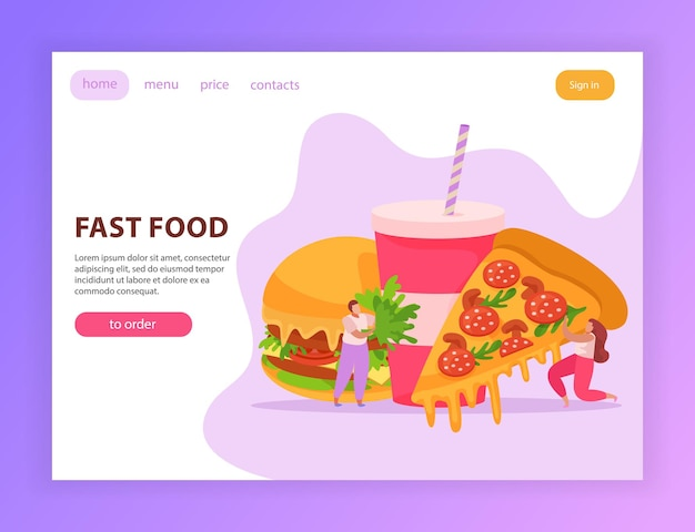 Página web de comida rápida con hamburguesa, bebida hombre y mujer sosteniendo un pedazo de pizza