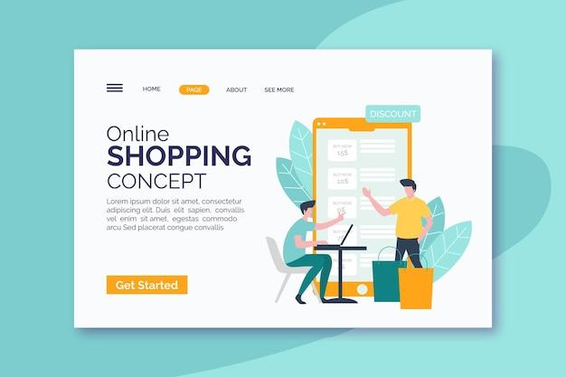 Página web de compras en línea de diseño plano
