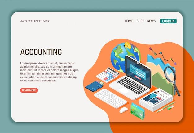 Página web de contabilidad isométrica con análisis de economía, banca por internet y documentación en blanco naranja