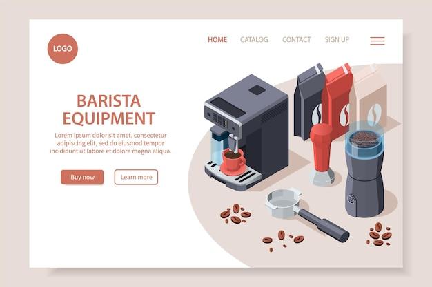 Página web isométrica del equipo de café barista profesional