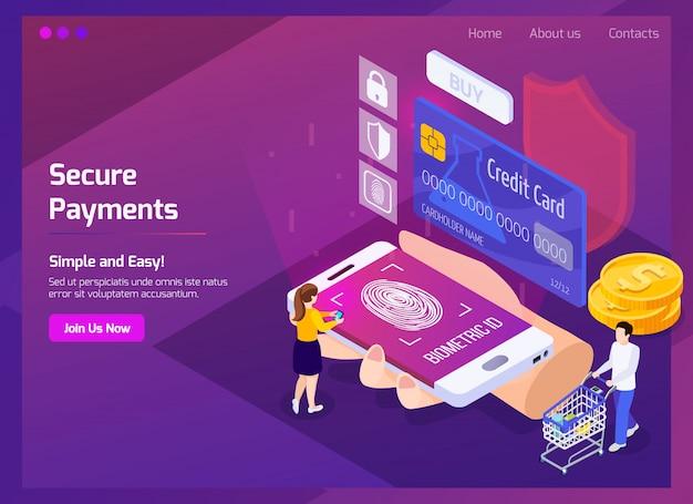 Página web isométrica de pagos seguros de tecnología financiera con elementos de brillo e interfaz en púrpura