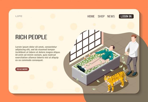 Página web isométrica de personas ricas hombres exitosos con mucho dinero y tigre en el baño