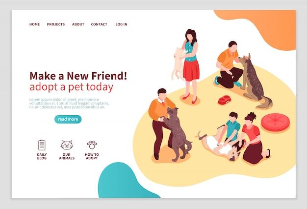 Página web isométrica del refugio de animales con personajes humanos durante la comunicación con perros y gatos ilustración vectorial