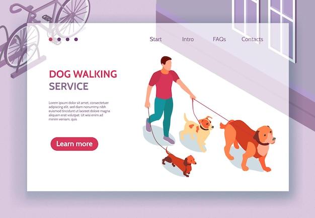 Página web isométrica del servicio de pasear perros con información de contactos hombre con 3 correas para mascotas