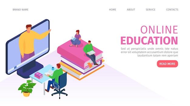 Página web isométrica de tecnología de educación en línea