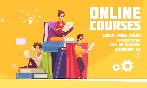 Página web de publicidad de dibujos animados de cursos en línea con estudiantes sentados en una pila de libros con computadoras portátiles
