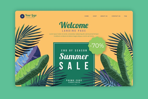 Página web de rebajas de fin de verano ilustrada