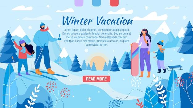 Página web de vacaciones de invierno para publicidad familiar